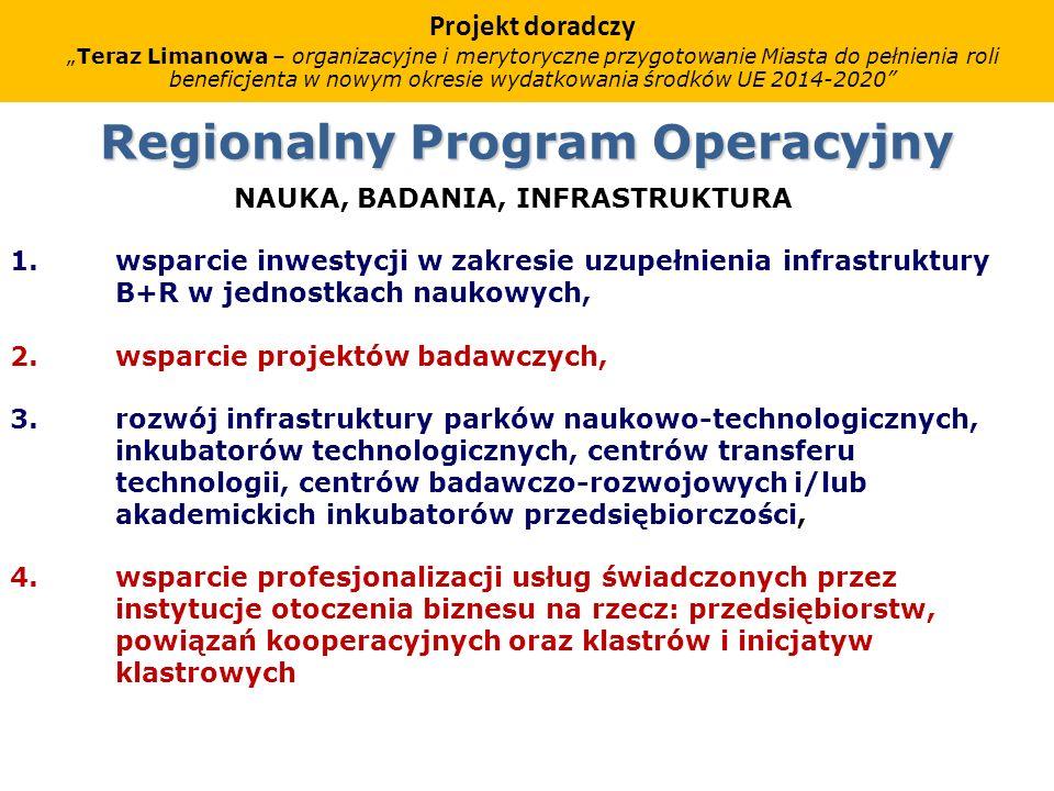 Regionalny Program Operacyjny NAUKA, BADANIA, INFRASTRUKTURA 1.