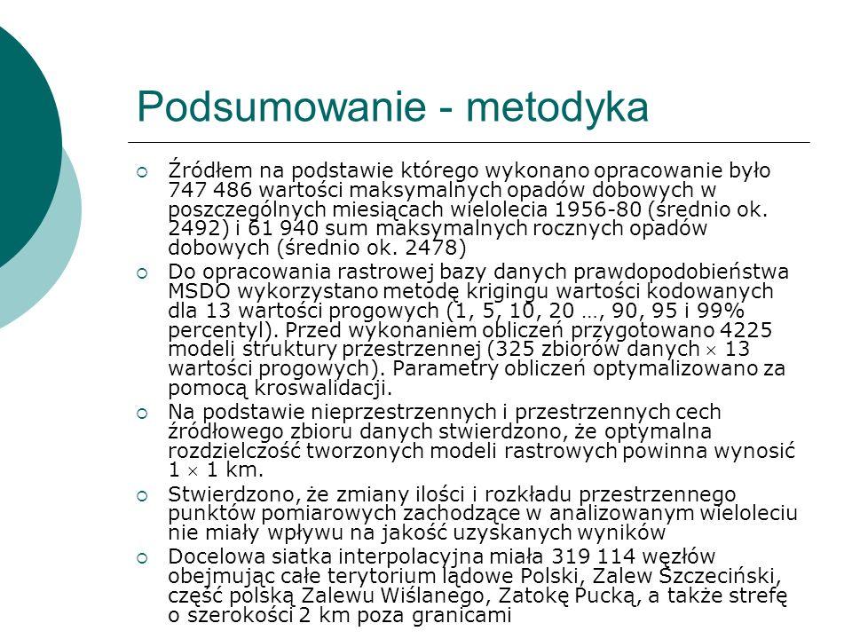 Podsumowanie - metodyka Źródłem na podstawie którego wykonano opracowanie było 747 486 wartości maksymalnych opadów dobowych w poszczególnych miesiąca