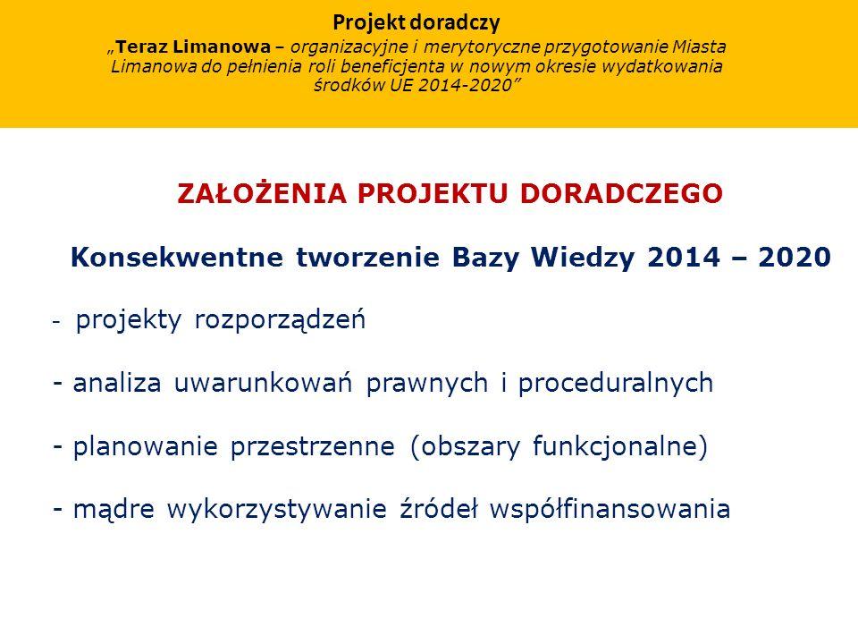 Projekt doradczy Teraz Limanowa – organizacyjne i merytoryczne przygotowanie Miasta Limanowa do pełnienia roli beneficjenta w nowym okresie wydatkowania środków UE 2014-2020 ZAŁOŻENIA PROJEKTU DORADCZEGO Konsekwentne tworzenie Bazy Wiedzy 2014 – 2020 - projekty rozporządzeń - analiza uwarunkowań prawnych i proceduralnych - planowanie przestrzenne (obszary funkcjonalne) - mądre wykorzystywanie źródeł współfinansowania