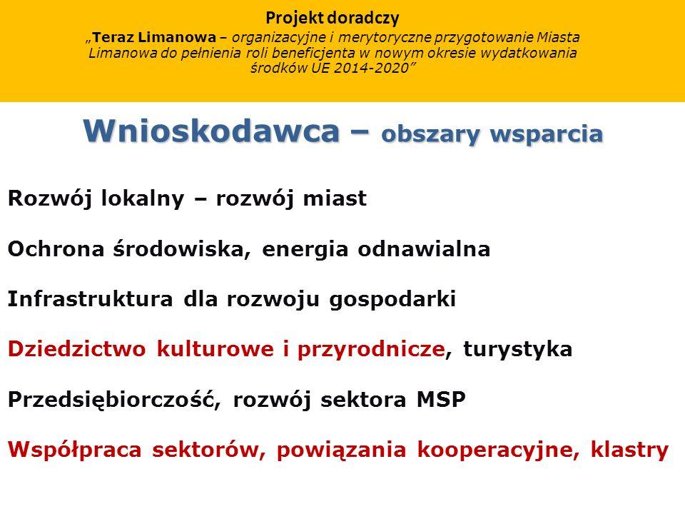 Wnioskodawca – obszary wsparcia Rozwój lokalny – rozwój miast Ochrona środowiska, energia odnawialna Infrastruktura dla rozwoju gospodarki Dziedzictwo kulturowe i przyrodnicze, turystyka Przedsiębiorczość, rozwój sektora MSP Współpraca sektorów, powiązania kooperacyjne, klastry Projekt doradczy Teraz Limanowa – organizacyjne i merytoryczne przygotowanie Miasta Limanowa do pełnienia roli beneficjenta w nowym okresie wydatkowania środków UE 2014-2020