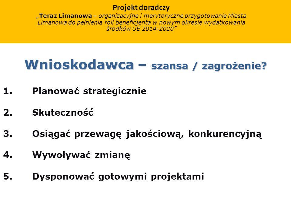 Projekt doradczy Teraz Limanowa – organizacyjne i merytoryczne przygotowanie Miasta Limanowa do pełnienia roli beneficjenta w nowym okresie wydatkowania środków UE 2014-2020 ZAŁOŻENIA PROJEKTU DORADCZEGO Szkolenia i warsztaty robocze z potencjalnymi projektodawcami/wnioskodawcami Warsztaty budujące wiedzę i umiejętności Warsztaty budujące potencjał projektowy Warsztaty budujące kompetencje do skutecznego pozyskiwania wsparcia