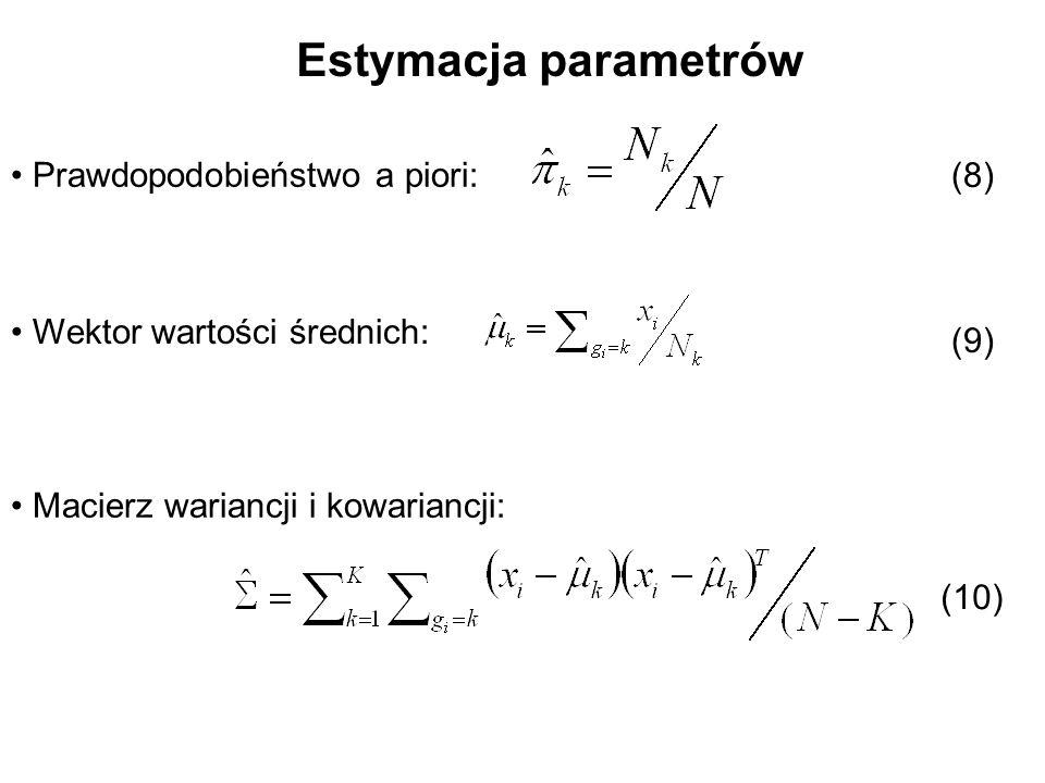 Estymacja parametrów Prawdopodobieństwo a piori: Wektor wartości średnich: Macierz wariancji i kowariancji: (8) (9) (10)