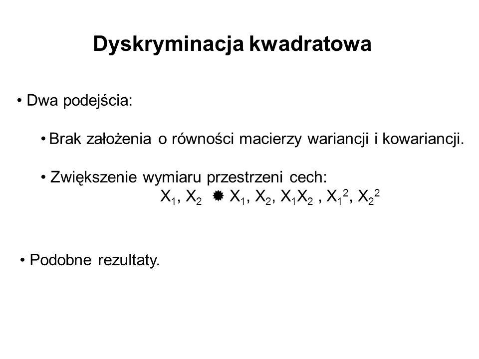 Dyskryminacja kwadratowa Dwa podejścia: Brak założenia o równości macierzy wariancji i kowariancji. Zwiększenie wymiaru przestrzeni cech: X 1, X 2 X 1