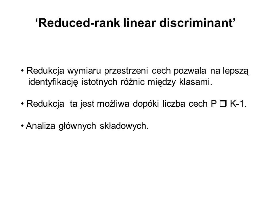 Reduced-rank linear discriminant Redukcja wymiaru przestrzeni cech pozwala na lepszą identyfikację istotnych różnic między klasami. Redukcja ta jest m