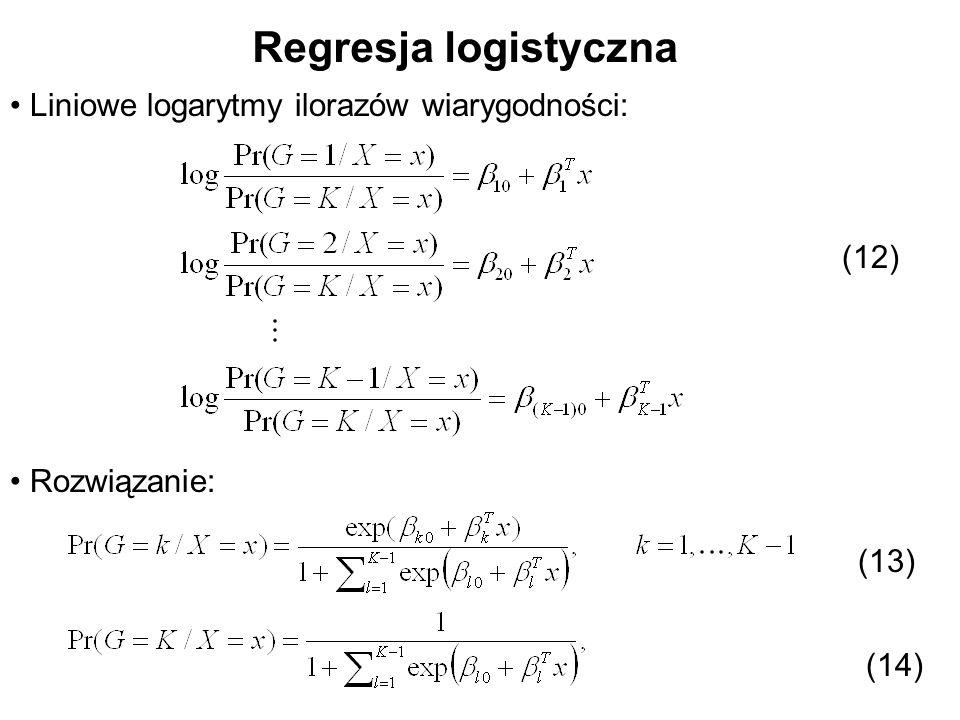 Regresja logistyczna Liniowe logarytmy ilorazów wiarygodności: Rozwiązanie: (12) (13) (14)