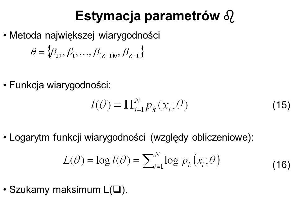 Estymacja parametrów Metoda największej wiarygodności Funkcja wiarygodności: Logarytm funkcji wiarygodności (względy obliczeniowe): Szukamy maksimum L