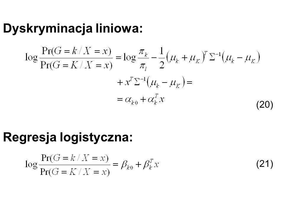 Regresja logistyczna: Dyskryminacja liniowa: (20) (21)