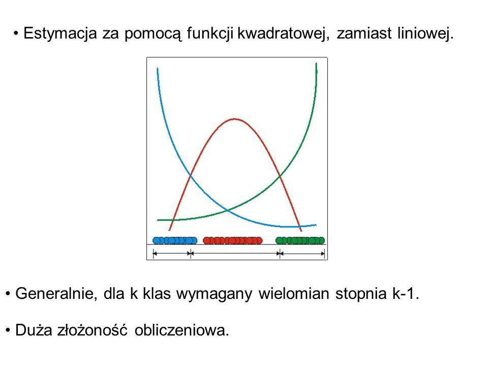 Estymacja za pomocą funkcji kwadratowej, zamiast liniowej. Generalnie, dla k klas wymagany wielomian stopnia k-1. Duża złożoność obliczeniowa.