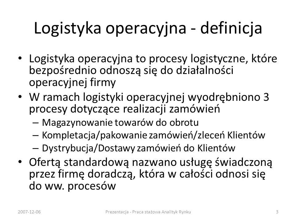 Logistyka operacyjna - definicja Logistyka operacyjna to procesy logistyczne, które bezpośrednio odnoszą się do działalności operacyjnej firmy W ramac