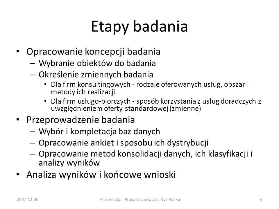 Firmy usługo-biorcze MŚP - wyniki 2007-12-06Prezentacja - Praca stażowa Analityk Rynku17 1.