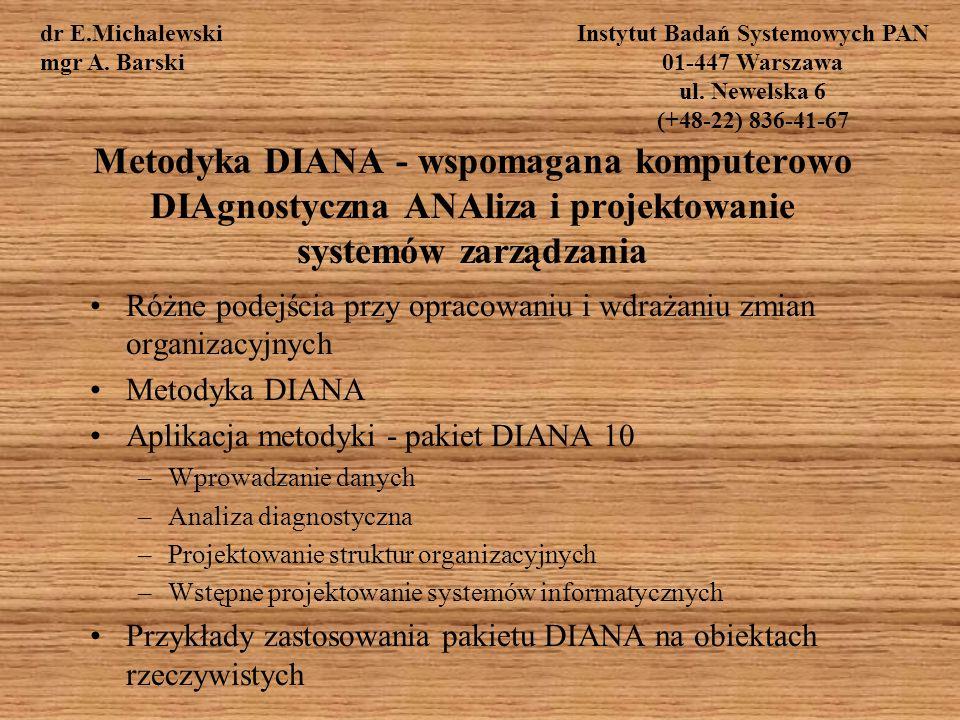 Metodyka DIANA - wspomagana komputerowo DIAgnostyczna ANAliza i projektowanie systemów zarządzania Różne podejścia przy opracowaniu i wdrażaniu zmian organizacyjnych Metodyka DIANA Aplikacja metodyki - pakiet DIANA 10 –Wprowadzanie danych –Analiza diagnostyczna –Projektowanie struktur organizacyjnych –Wstępne projektowanie systemów informatycznych Przykłady zastosowania pakietu DIANA na obiektach rzeczywistych dr E.Michalewski mgr A.