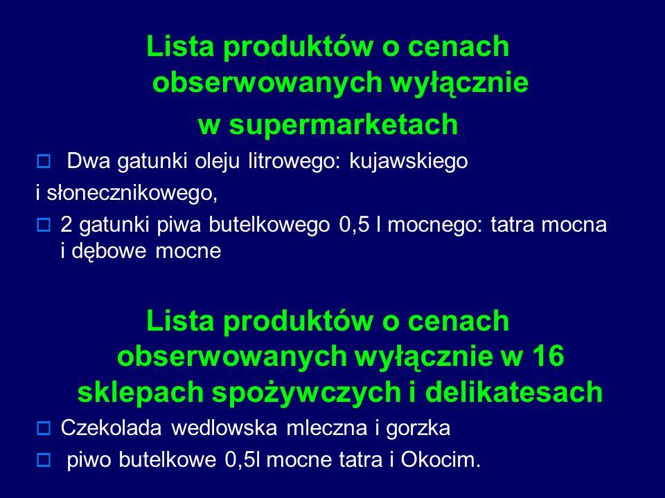 Lista produktów o cenach obserwowanych wyłącznie w supermarketach Dwa gatunki oleju litrowego: kujawskiego i słonecznikowego, 2 gatunki piwa butelkowe