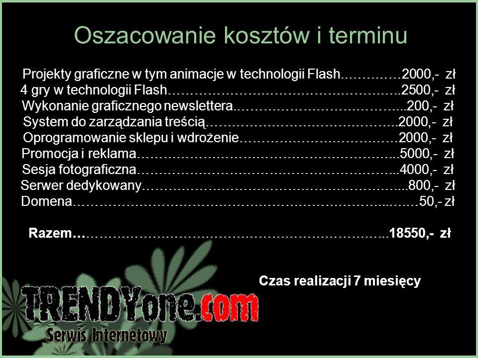 Oszacowanie kosztów i terminu Projekty graficzne w tym animacje w technologii Flash..…………2000,- zł 4 gry w technologii Flash……………………………………………..2500,-