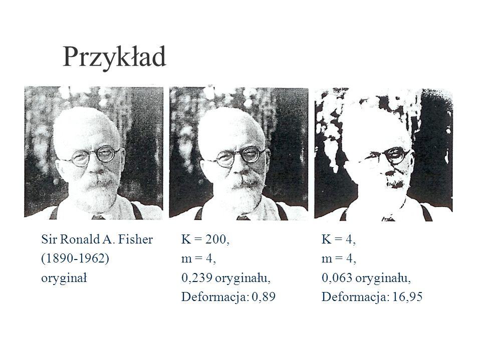 Przykład Sir Ronald A. Fisher (1890-1962) oryginał K = 200, m = 4, 0,239 oryginału, Deformacja: 0,89 K = 4, m = 4, 0,063 oryginału, Deformacja: 16,95