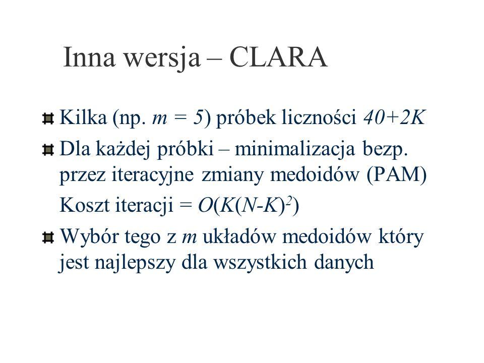 Inna wersja – CLARA Kilka (np. m = 5) próbek liczności 40+2K Dla każdej próbki – minimalizacja bezp. przez iteracyjne zmiany medoidów (PAM) Koszt iter