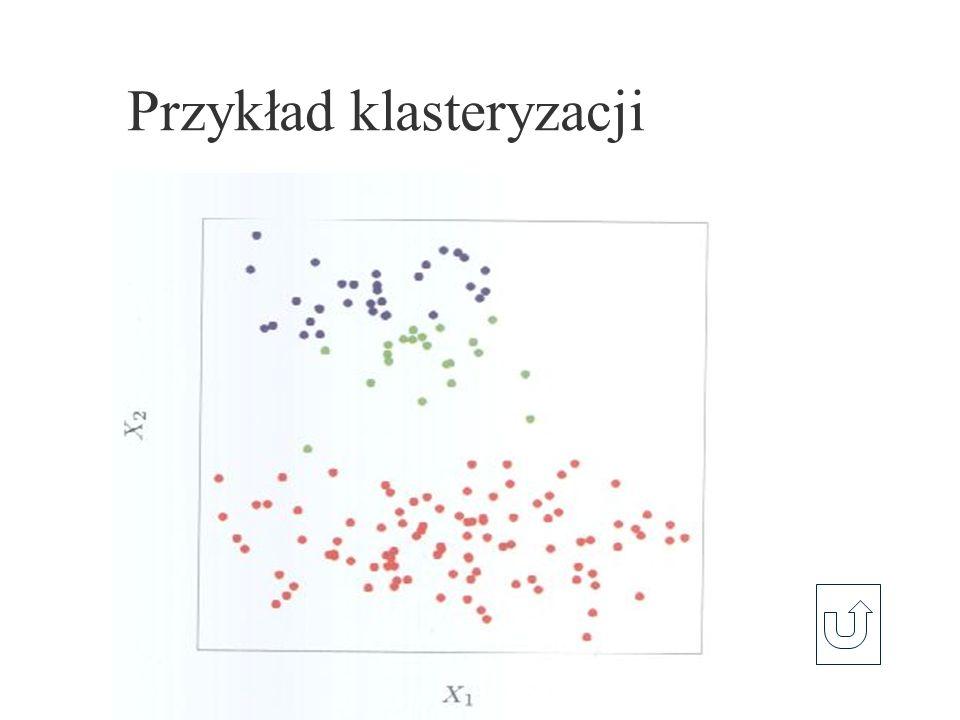 Reprezentacja danych x 1, …, x N Macierze podobieństwa D (N×N) Symetryczne, d ij 0, d ii = 0, Obiekty x i R p Różnica na atrybucie Atrybut ilościowy: Porządkowy: zamiana na ilościowy Nominalny: macierze podobieństwa L (M×M) między wartościami atrybutu