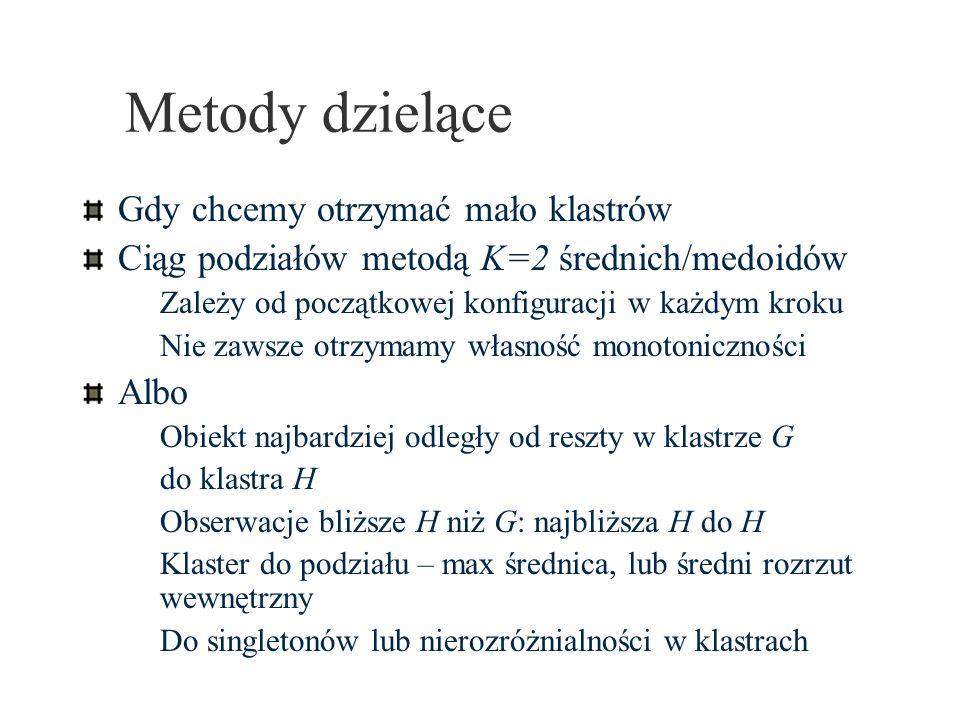 Metody dzielące Gdy chcemy otrzymać mało klastrów Ciąg podziałów metodą K=2 średnich/medoidów Zależy od początkowej konfiguracji w każdym kroku Nie za