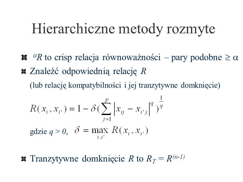 Hierarchiczne metody rozmyte R to crisp relacja równoważności – pary podobne Znaleźć odpowiednią relację R (lub relację kompatybilności i jej tranzyty