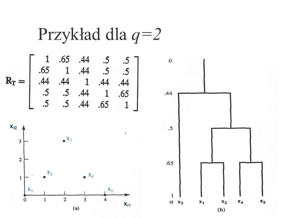 Przykład dla q=2 x i1 x i2 x1x1 x2x2 x3x3 x4x4 x5x5