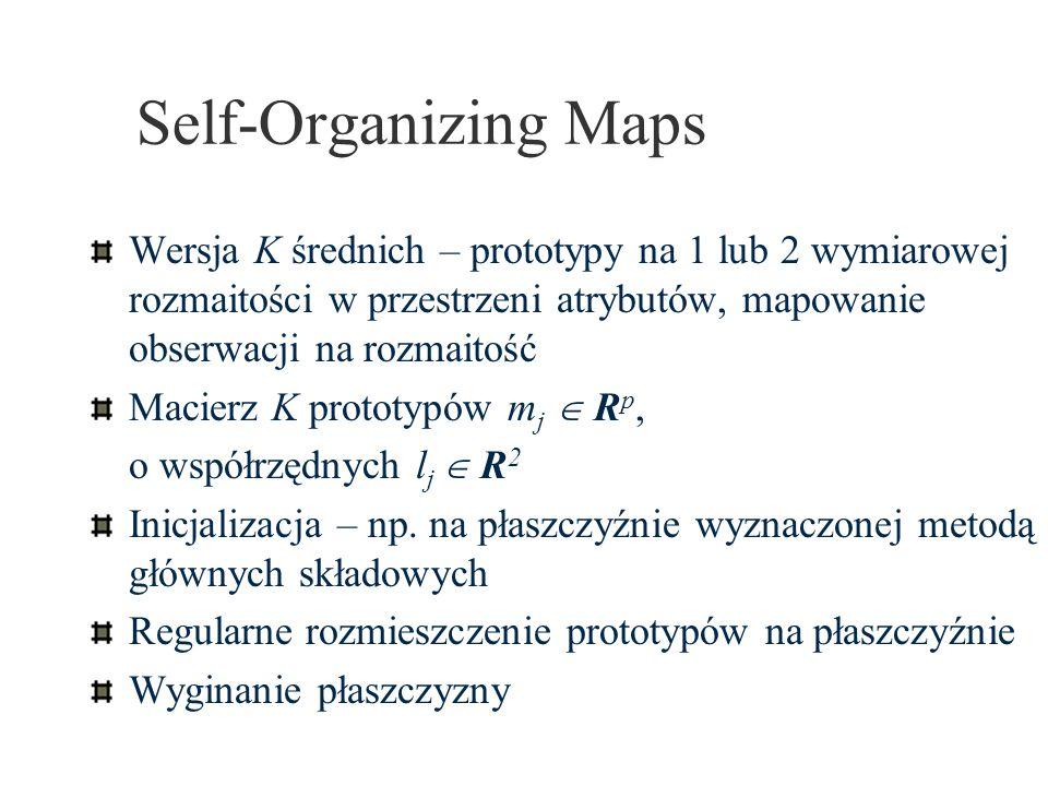 Self-Organizing Maps Wersja K średnich – prototypy na 1 lub 2 wymiarowej rozmaitości w przestrzeni atrybutów, mapowanie obserwacji na rozmaitość Macie