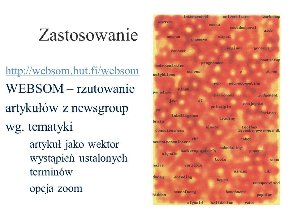 Zastosowanie http://websom.hut.fi/websom WEBSOM – rzutowanie artykułów z newsgroup wg. tematyki artykuł jako wektor wystąpień ustalonych terminów opcj