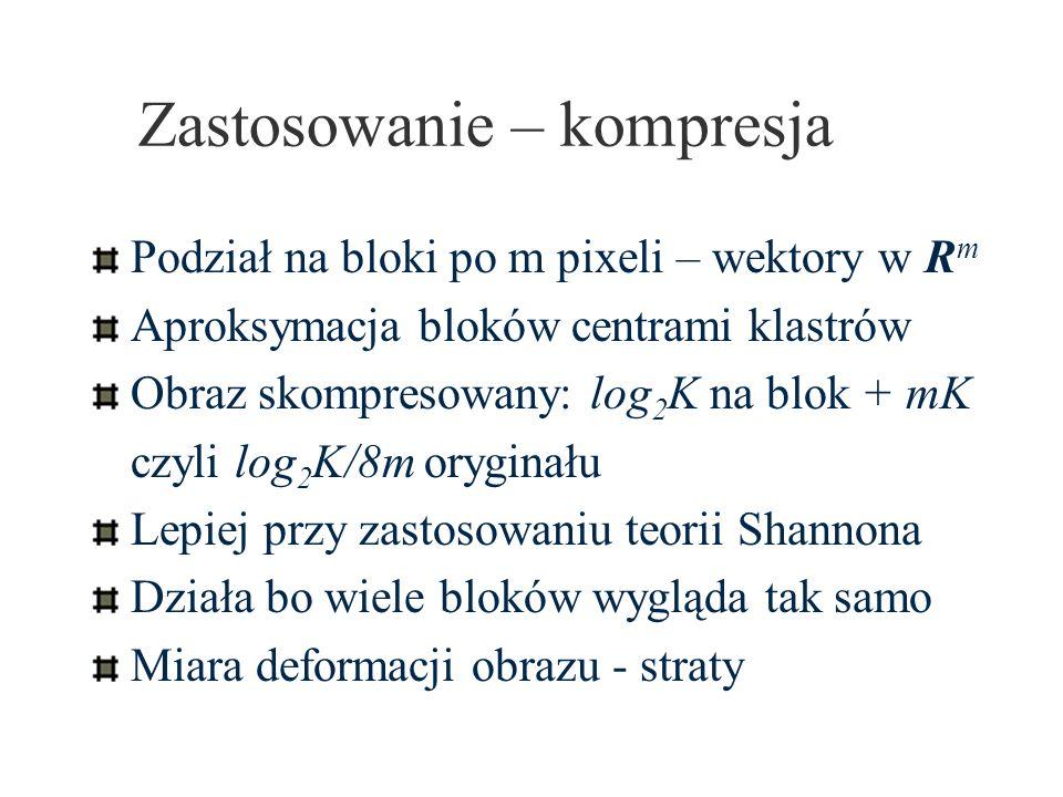 Algorytm SOM Znajdź m j najbliższy x i w R p Przesuń bliskich sąsiadów m j wg.