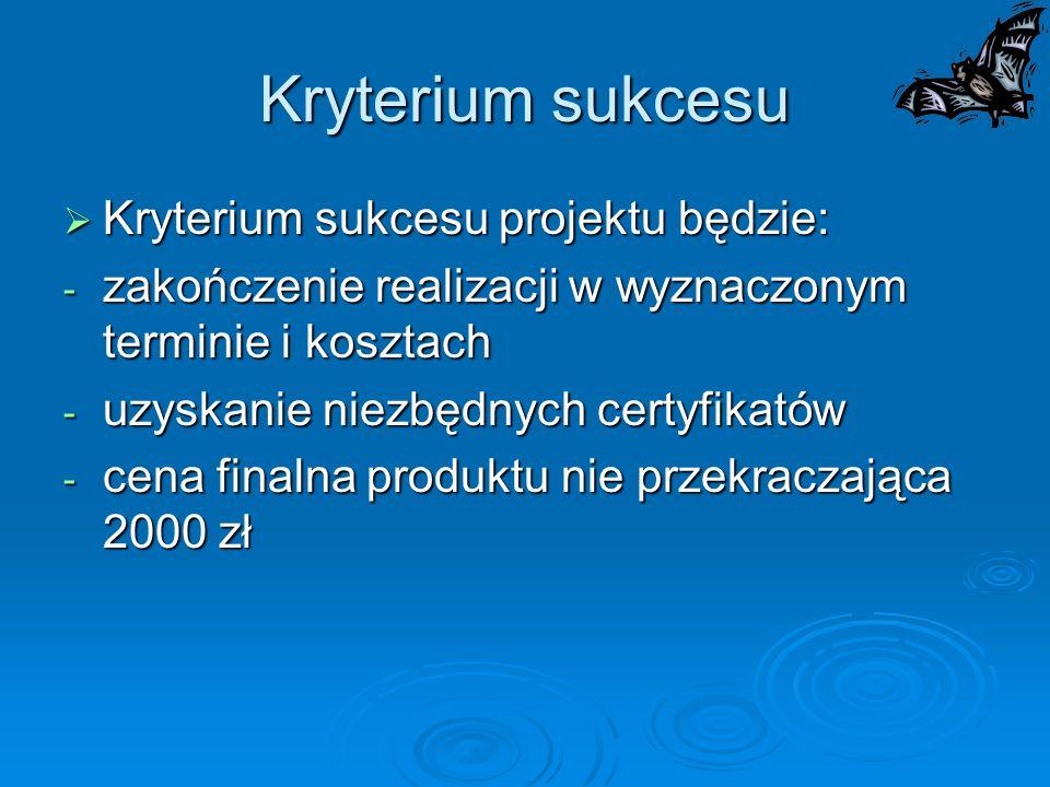 Kryterium sukcesu Kryterium sukcesu projektu będzie: Kryterium sukcesu projektu będzie: - zakończenie realizacji w wyznaczonym terminie i kosztach - u
