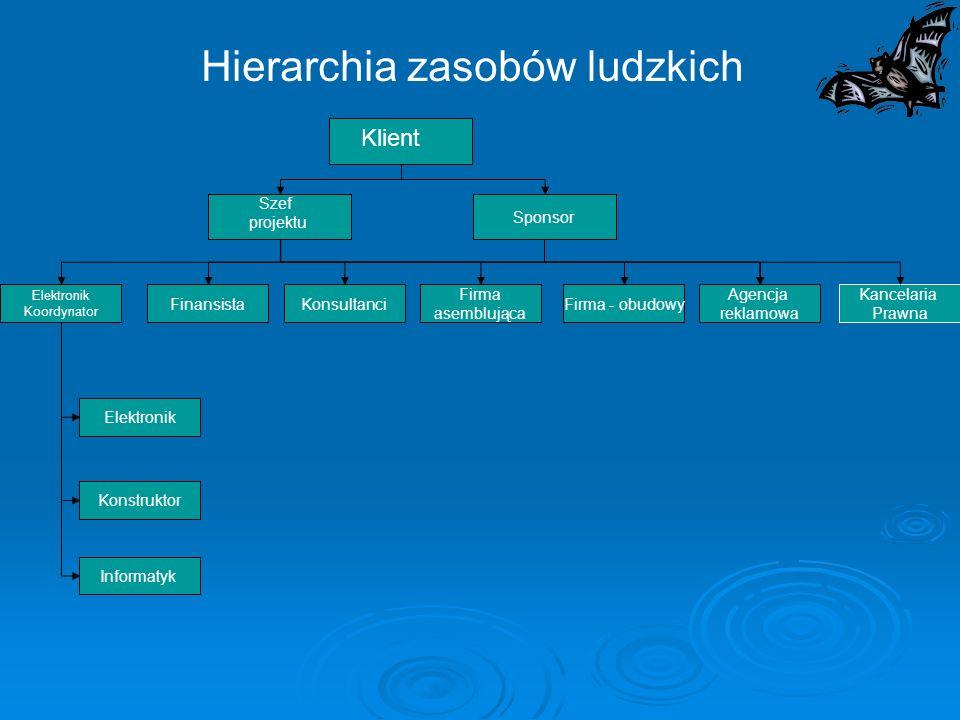 Hierarchia zasobów ludzkich Elektronik Koordynator Kancelaria Prawna Sponsor FinansistaKonsultanci Firma asemblująca Firma - obudowy Agencja reklamowa