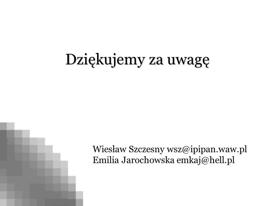 Dziękujemy za uwagę Wiesław Szczesny wsz@ipipan.waw.pl Emilia Jarochowska emkaj@hell.pl