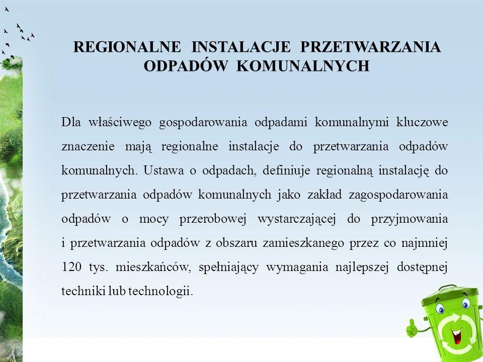 REGIONALNE INSTALACJE PRZETWARZANIA ODPADÓW KOMUNALNYCH Dla właściwego gospodarowania odpadami komunalnymi kluczowe znaczenie mają regionalne instalac
