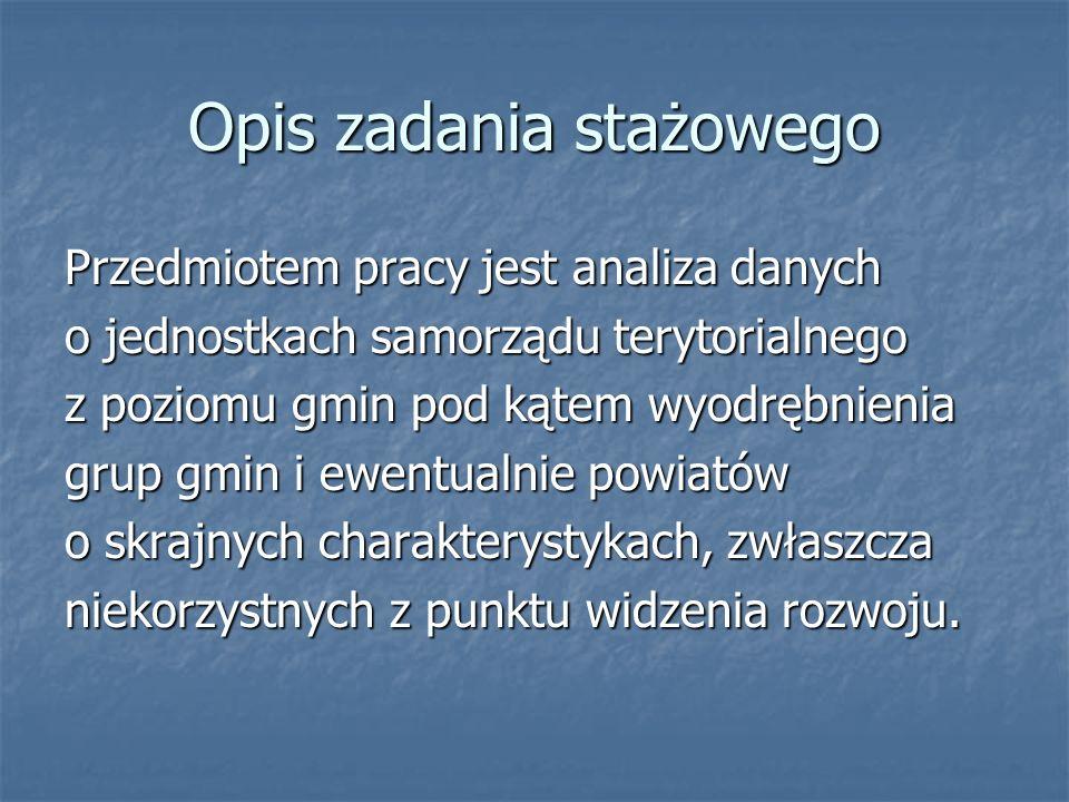 Zbiory danych W pracy wykorzystałam dane o jednostkach samorządu terytorialnego ( na poziomie gmin) z terenu województwa łódzkiego, będące w zasobach Instytutu Badań Systemowych PAN.