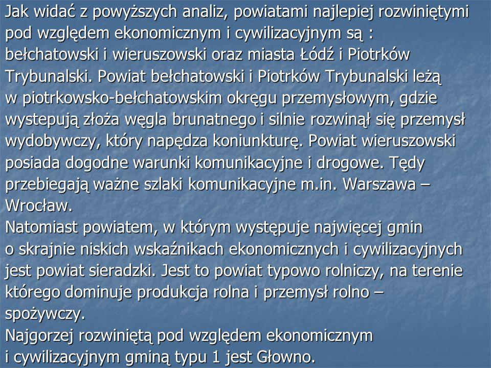 Jak widać z powyższych analiz, powiatami najlepiej rozwiniętymi pod względem ekonomicznym i cywilizacyjnym są : bełchatowski i wieruszowski oraz miasta Łódź i Piotrków Trybunalski.