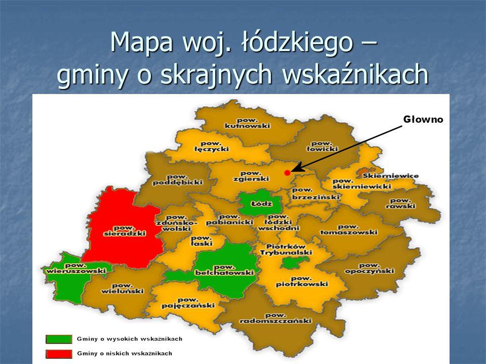 Mapa woj. łódzkiego – gminy o skrajnych wskaźnikach