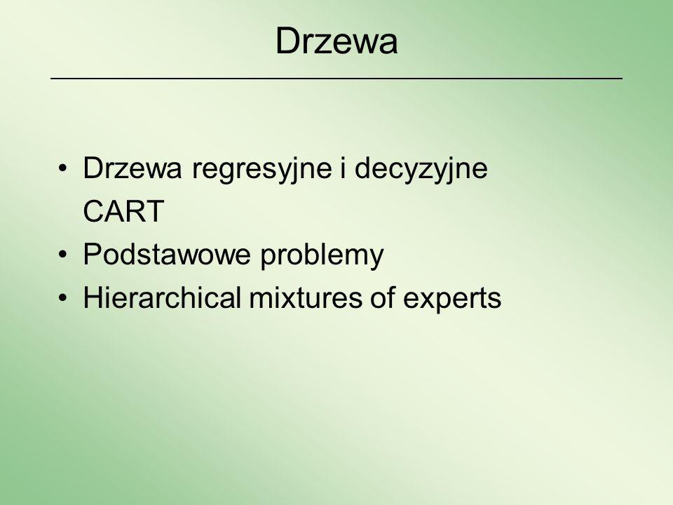 Drzewa Drzewa regresyjne i decyzyjne CART Podstawowe problemy Hierarchical mixtures of experts