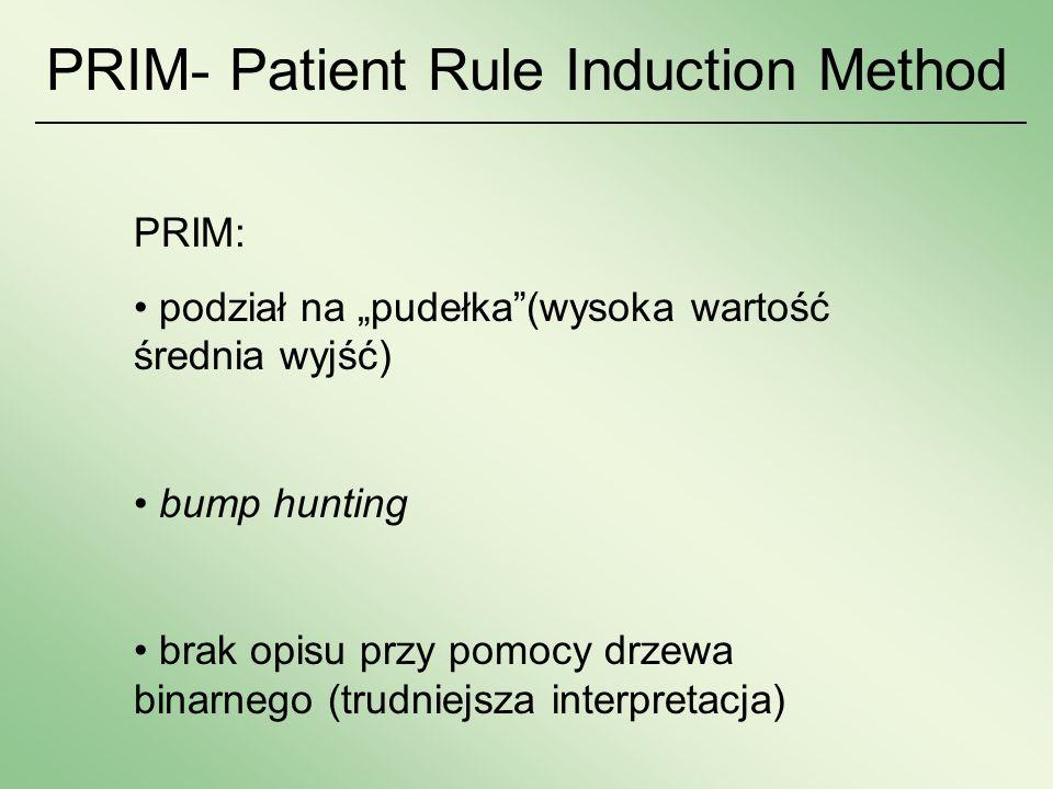 PRIM - Patient Rule Induction Method PRIM: podział na pudełka(wysoka wartość średnia wyjść) bump hunting brak opisu przy pomocy drzewa binarnego (trud