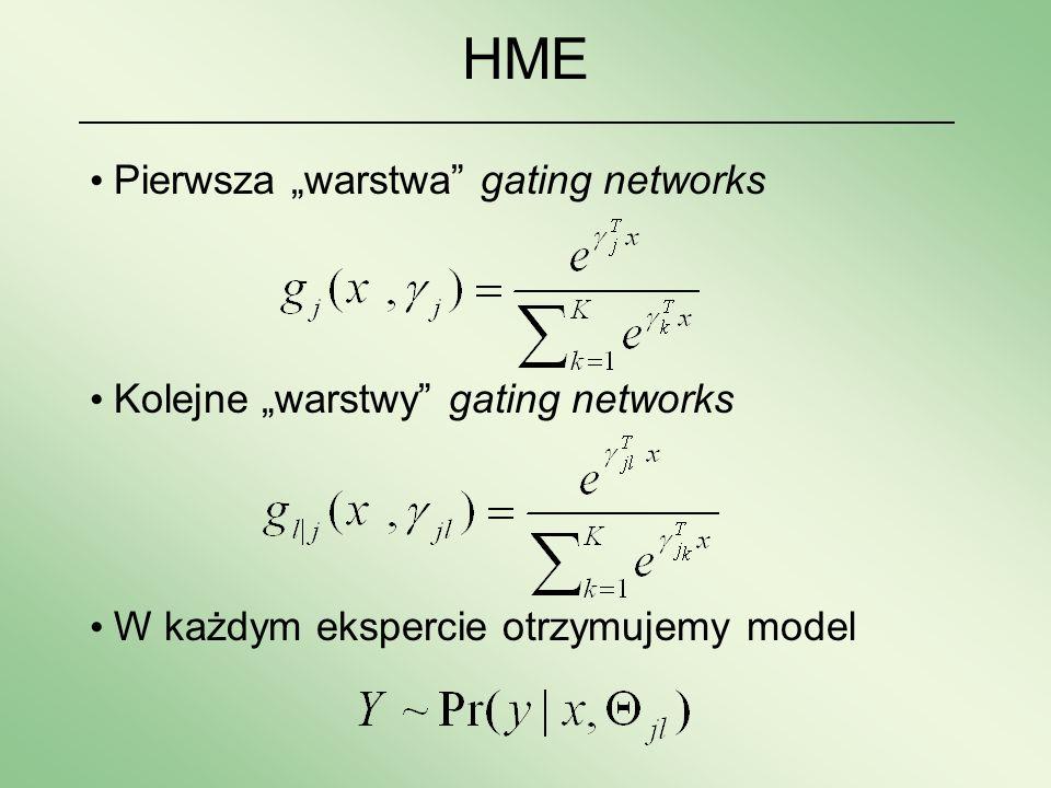 Pierwsza warstwa gating networks Kolejne warstwy gating networks W każdym ekspercie otrzymujemy model