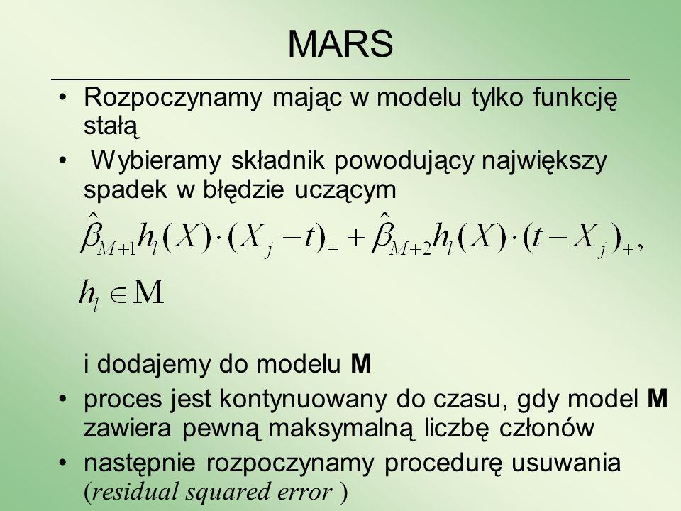 MARS Rozpoczynamy mając w modelu tylko funkcję stałą Wybieramy składnik powodujący największy spadek w błędzie uczącym i dodajemy do modelu M proces j