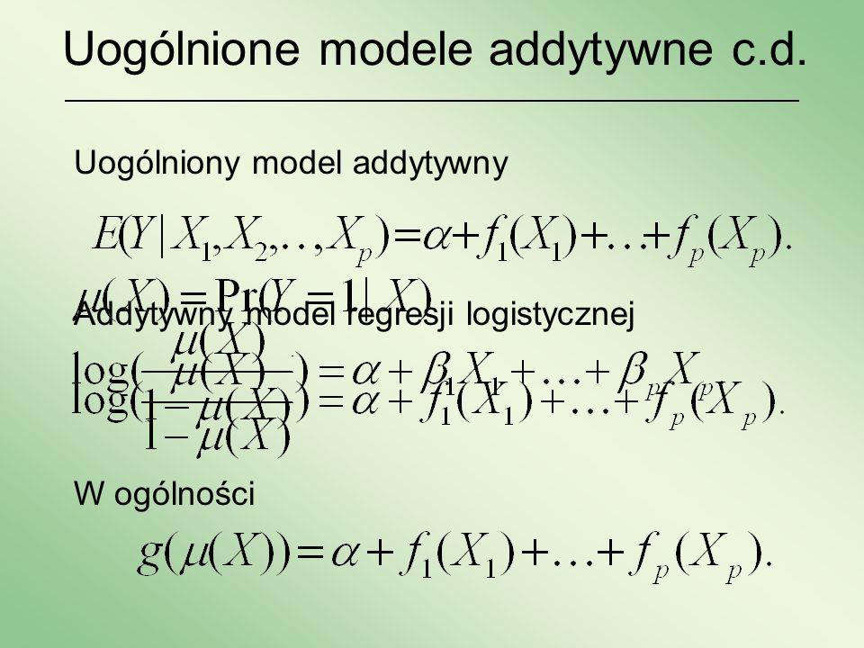 Uogólnione modele addytywne c.d. Addytywny model regresji logistycznej Uogólniony model addytywny W ogólności