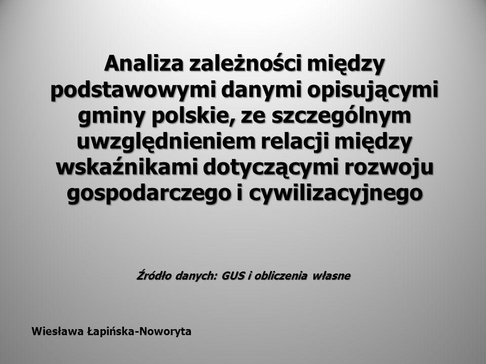 Analiza zależności między podstawowymi danymi opisującymi gminy polskie, ze szczególnym uwzględnieniem relacji między wskaźnikami dotyczącymi rozwoju