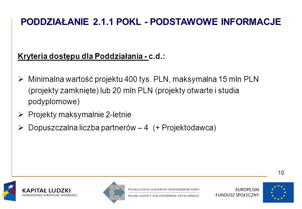 10 Kryteria dostępu dla Poddziałania - c.d.: Minimalna wartość projektu 400 tys.