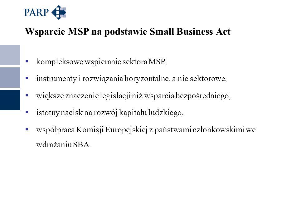 Wsparcie MSP na podstawie Small Business Act kompleksowe wspieranie sektora MSP, instrumenty i rozwiązania horyzontalne, a nie sektorowe, większe znac