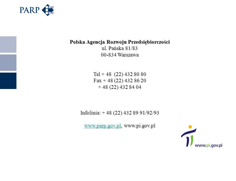 Polska Agencja Rozwoju Przedsiębiorczości ul. Pańska 81/83 00-834 Warszawa Tel + 48 (22) 432 80 80 Fax + 48 (22) 432 86 20 + 48 (22) 432 84 04 Infolin