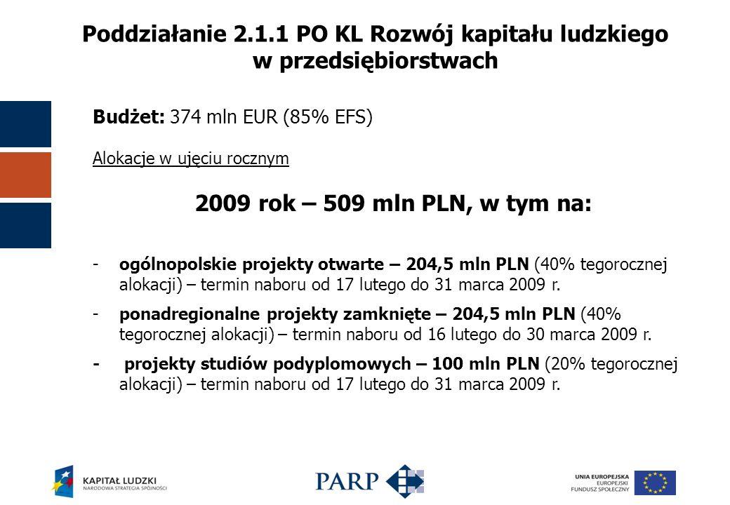 Poddziałanie 2.1.1 PO KL Rozwój kapitału ludzkiego w przedsiębiorstwach Budżet: 374 mln EUR (85% EFS) Alokacje w ujęciu rocznym 2009 rok – 509 mln PLN, w tym na: -ogólnopolskie projekty otwarte – 204,5 mln PLN (40% tegorocznej alokacji) – termin naboru od 17 lutego do 31 marca 2009 r.
