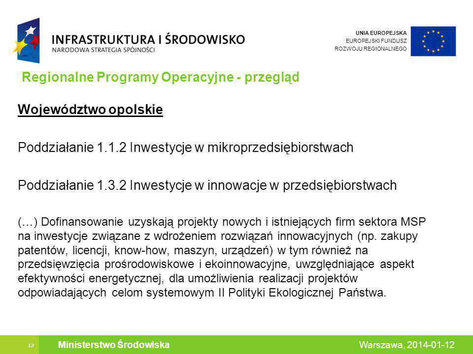 UNIA EUROPEJSKA EUROPEJSKI FUNDUSZ ROZWOJU REGIONALNEGO 12 Warszawa, 2014-01-12 Ministerstwo Środowiska Regionalne Programy Operacyjne - przegląd Województwo opolskie Poddziałanie 1.1.2 Inwestycje w mikroprzedsiębiorstwach Poddziałanie 1.3.2 Inwestycje w innowacje w przedsiębiorstwach (…) Dofinansowanie uzyskają projekty nowych i istniejących firm sektora MSP na inwestycje związane z wdrożeniem rozwiązań innowacyjnych (np.
