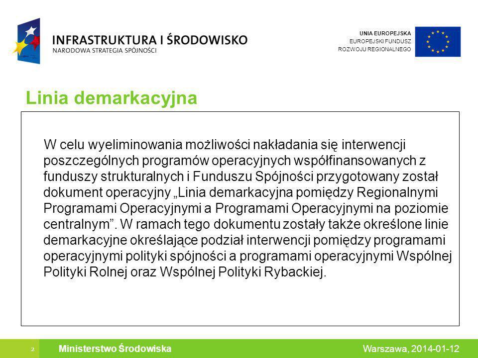 UNIA EUROPEJSKA EUROPEJSKI FUNDUSZ ROZWOJU REGIONALNEGO 2 Warszawa, 2014-01-12 Ministerstwo Środowiska Linia demarkacyjna W celu wyeliminowania możliwości nakładania się interwencji poszczególnych programów operacyjnych współfinansowanych z funduszy strukturalnych i Funduszu Spójności przygotowany został dokument operacyjny Linia demarkacyjna pomiędzy Regionalnymi Programami Operacyjnymi a Programami Operacyjnymi na poziomie centralnym.
