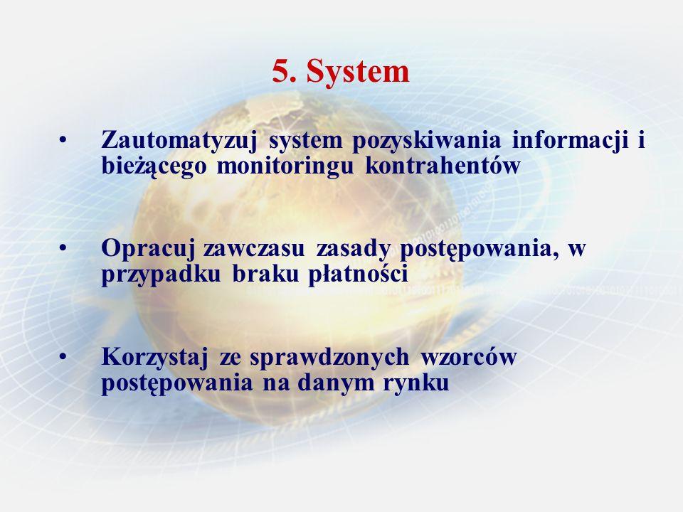 5. System Zautomatyzuj system pozyskiwania informacji i bieżącego monitoringu kontrahentów Opracuj zawczasu zasady postępowania, w przypadku braku pła