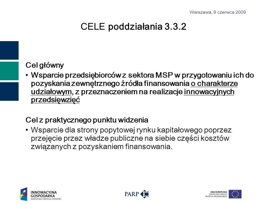 Warszawa, 9 czerwca 2009 CEL E poddziałania 3.3.2 Cel główny Wsparcie przedsiębiorców z sektora MSP w przygotowaniu ich do pozyskania zewnętrznego źródła finansowania o charakterze udziałowym, z przeznaczeniem na realizacje innowacyjnych przedsięwzięć Cel z praktycznego punktu widzenia Wsparcie dla strony popytowej rynku kapitałowego poprzez przejęcie przez władze publiczne na siebie części kosztów związanych z pozyskaniem finansowania.