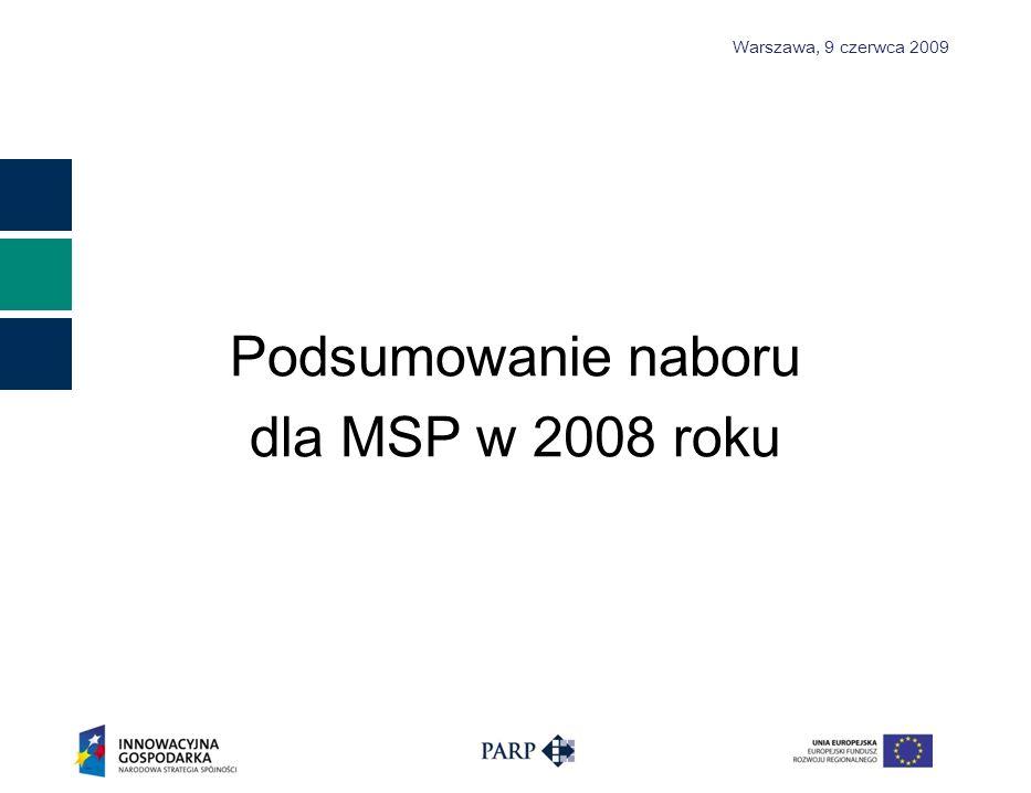 Warszawa, 9 czerwca 2009 Podsumowanie naboru dla MSP w 2008 r oku