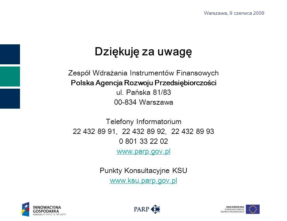 Warszawa, 9 czerwca 2009 Dziękuję za uwagę Zespół Wdrażania Instrumentów Finansowych Polska Agencja Rozwoju Przedsiębiorczości ul.