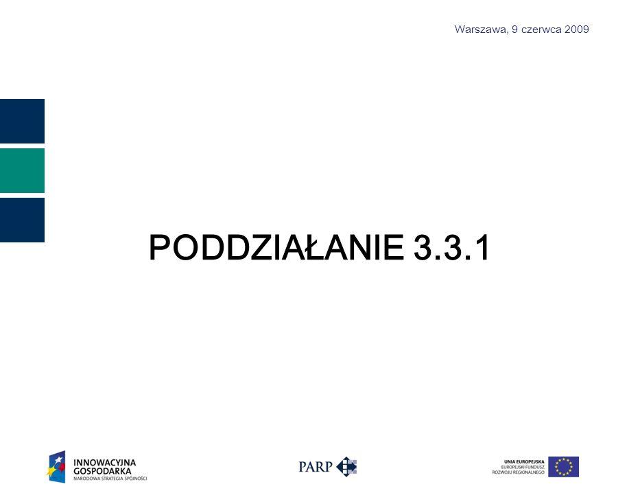 Warszawa, 9 czerwca 2009 CELE poddziałania 3.3.1 Cel główny Aktywizacja rynku inwestorów prywatnych poprzez tworzenie dogodnych warunków inicjowania współpracy inwestorów z przedsiębiorcami poszukującymi środków finansowych na realizację innowacyjnych przedsięwzięć.